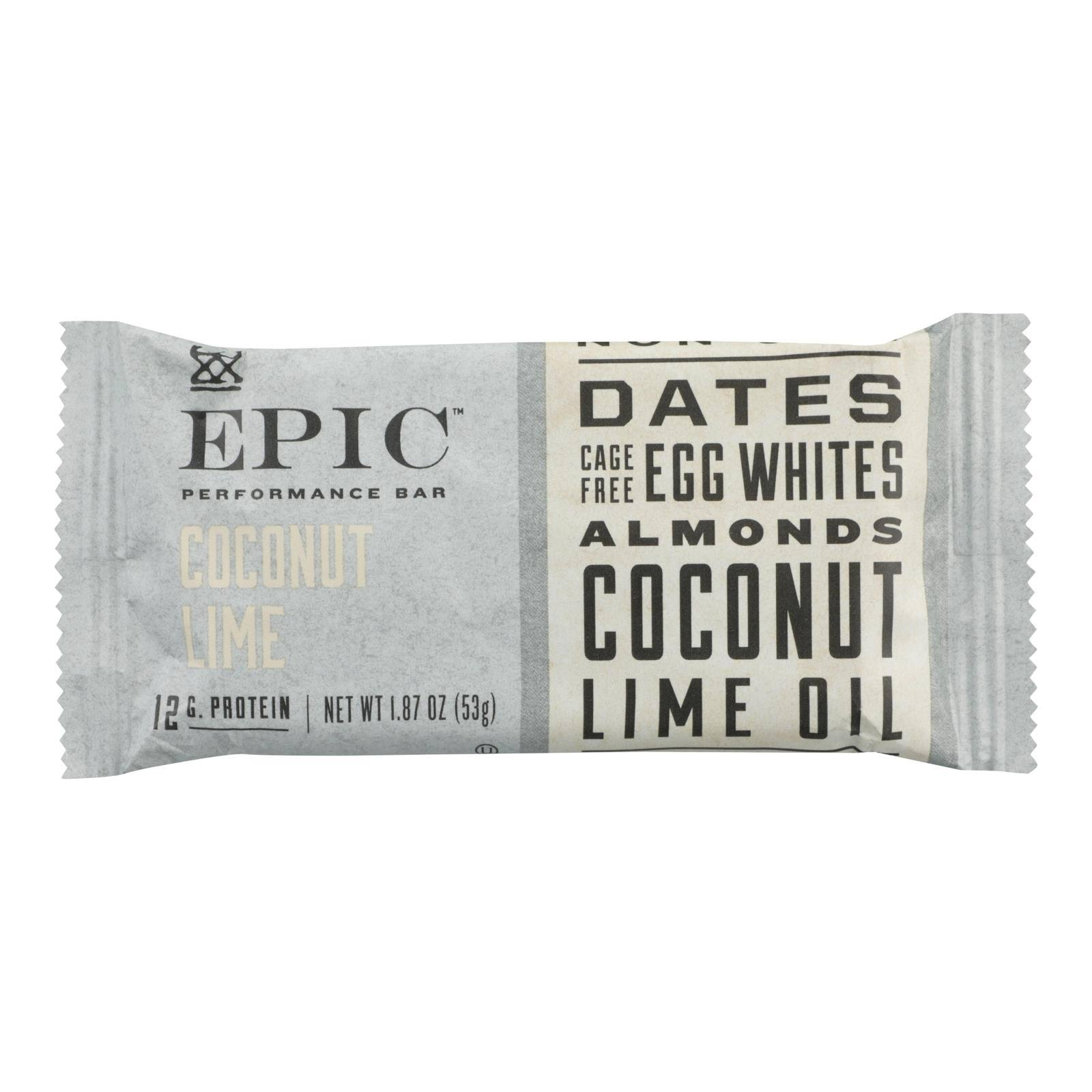 Epic - Performance Bar Coconut Lime - Case of 9 - 1.87 oz