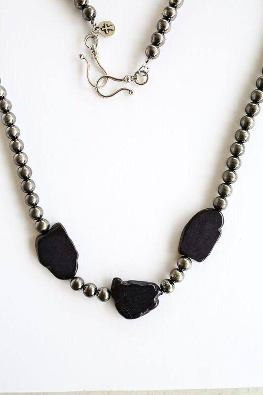 West & Co. Worn Silver Necklace with Black Chunk Stones
