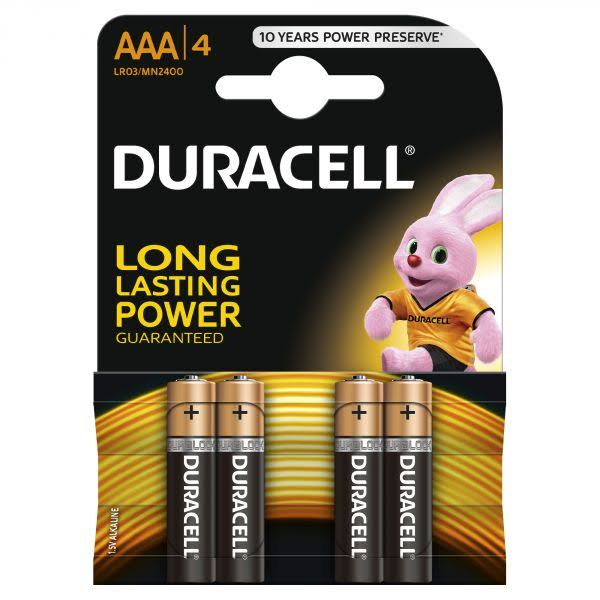 Duracell AAA Alkaline Battery - 1.5V, 4pcs