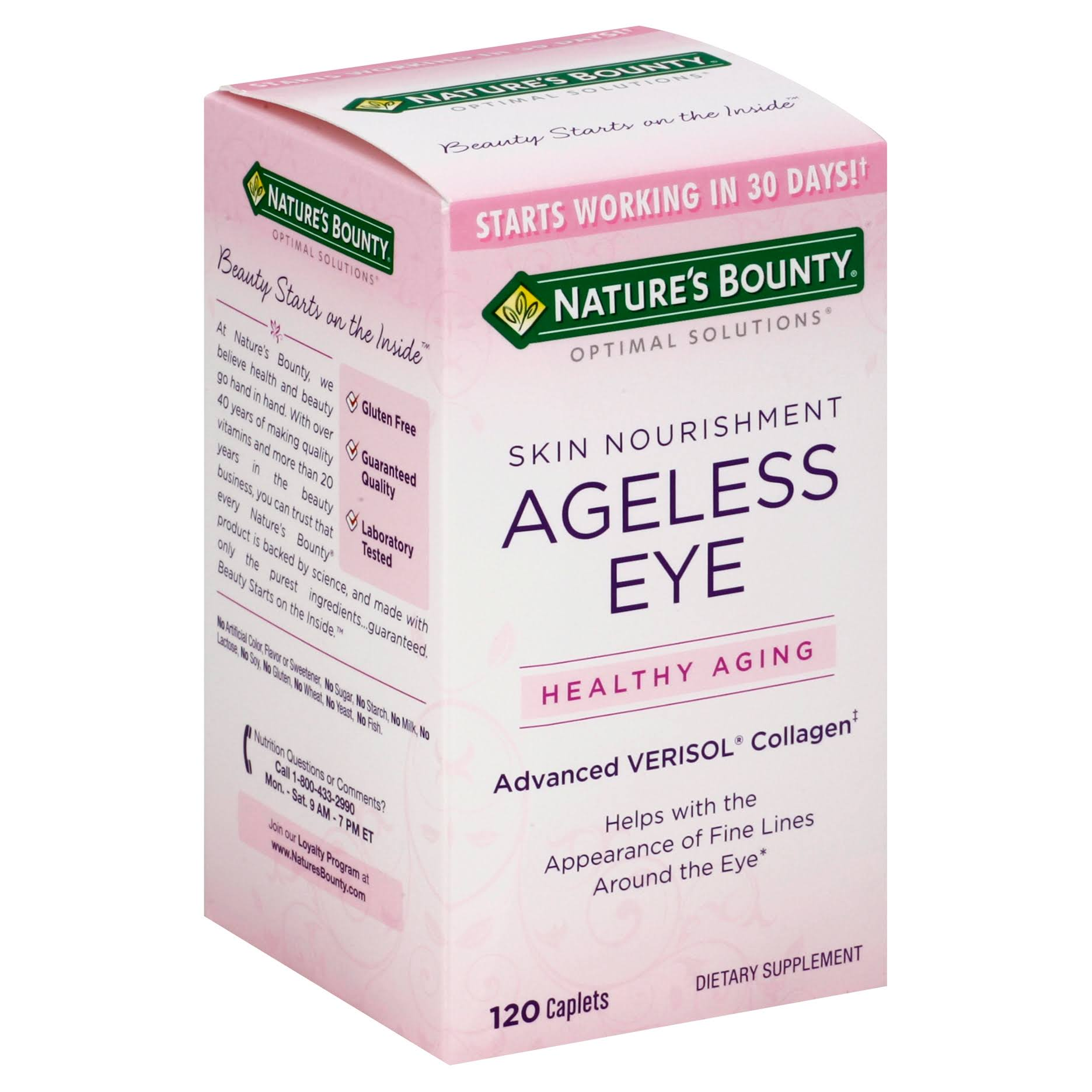 Nature's Bounty Optimal Solutions Ageless Eye Verisol Collagen Supplement - 120 Count