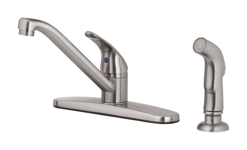 OakBrook 67210-2504 Essentials One Handle Kitchen Faucet - With Deck Mount Spray, Brushed Nickel