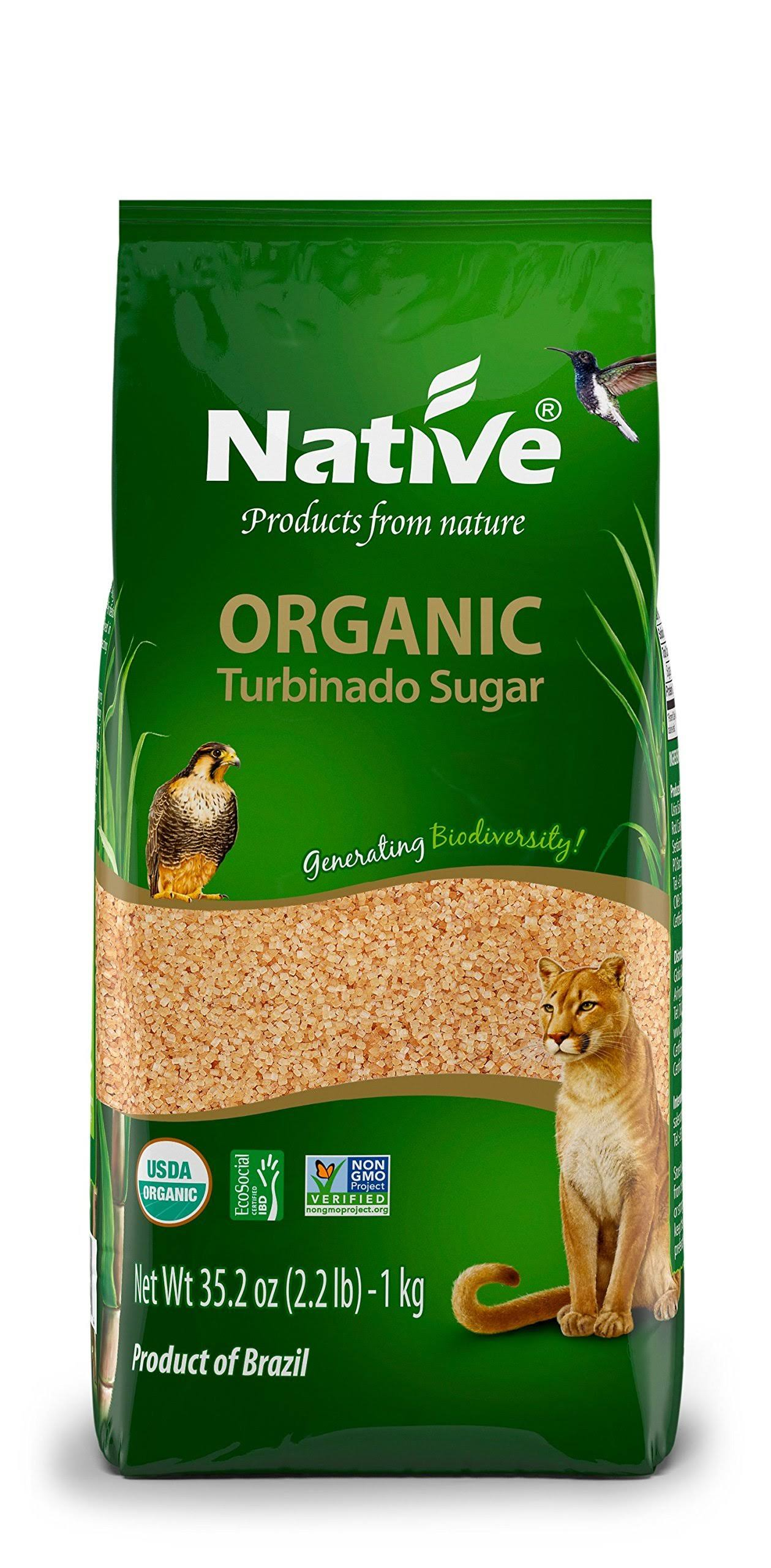 Native USA Turbinado (Demerara) Organic Sugar - 2.2lb, 12ct