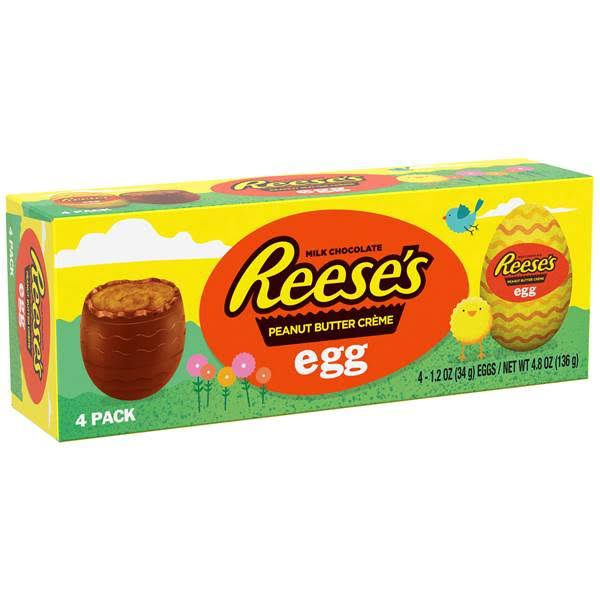 Reeses Milk Chocolate, Peanut Butter Creme, Egg, 4 Pack - 4 pack, 1.2 oz eggs