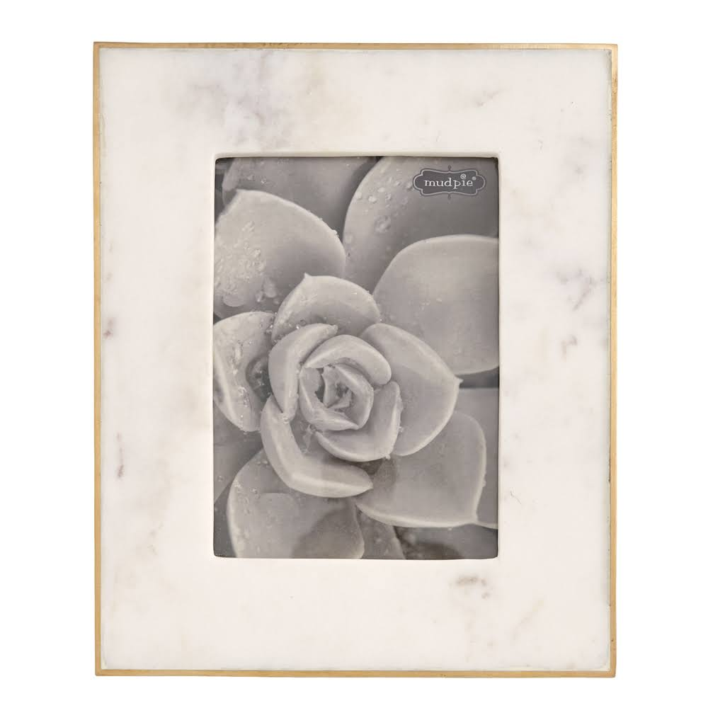 "Mud Pie White Marble Picture Frame Size: 6"" L x 4"" W"