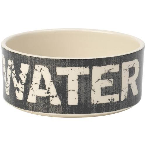 "PetRageous Water Vintage Pet Bowl - 6"", Black and Natural, 3.5-Cup"