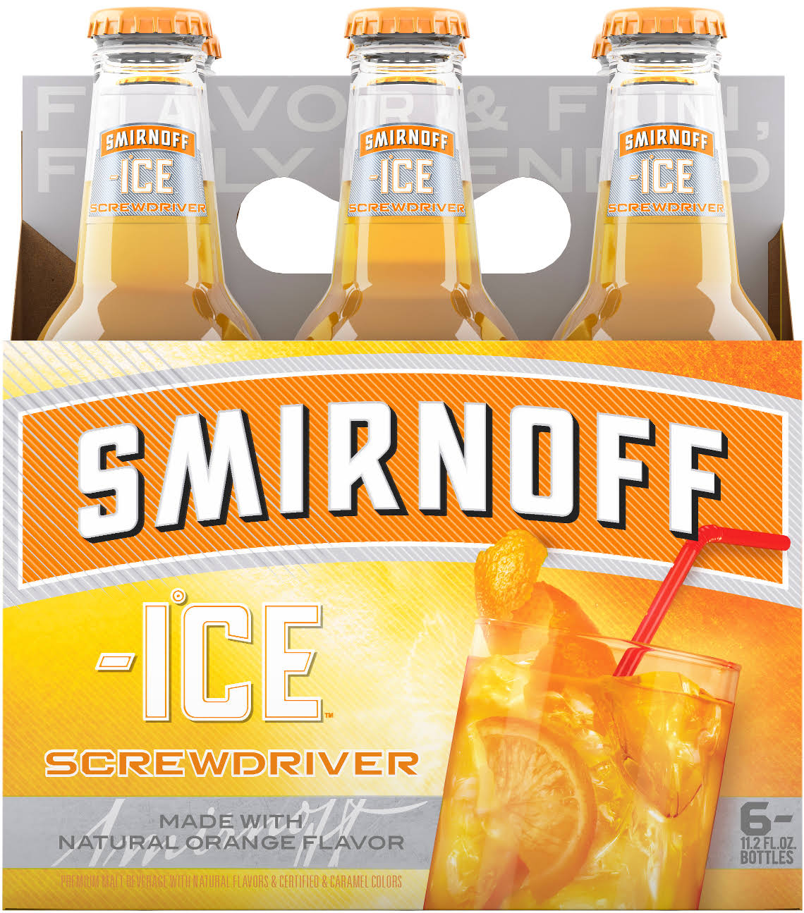Smirnoff Ice Malt Beverage, Screwdriver - 6 pack, 11.2 fl oz bottles