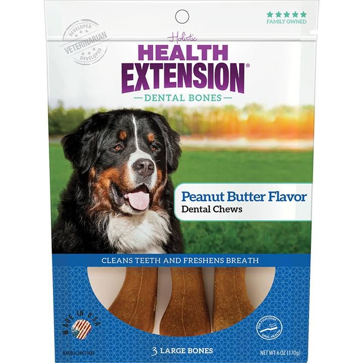 Health Extension Peanut Butter Dental Bones Dog Treats, Large, 3 Count