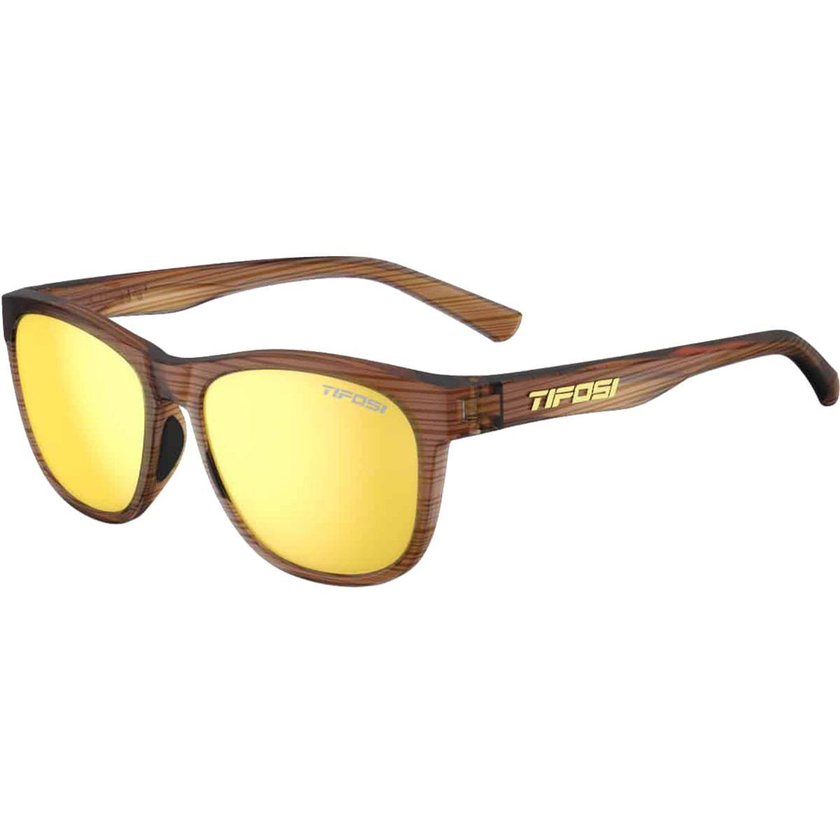 Tifosi Swank Single Lens Sunglasses - Woodgrain/Smoke Yellow