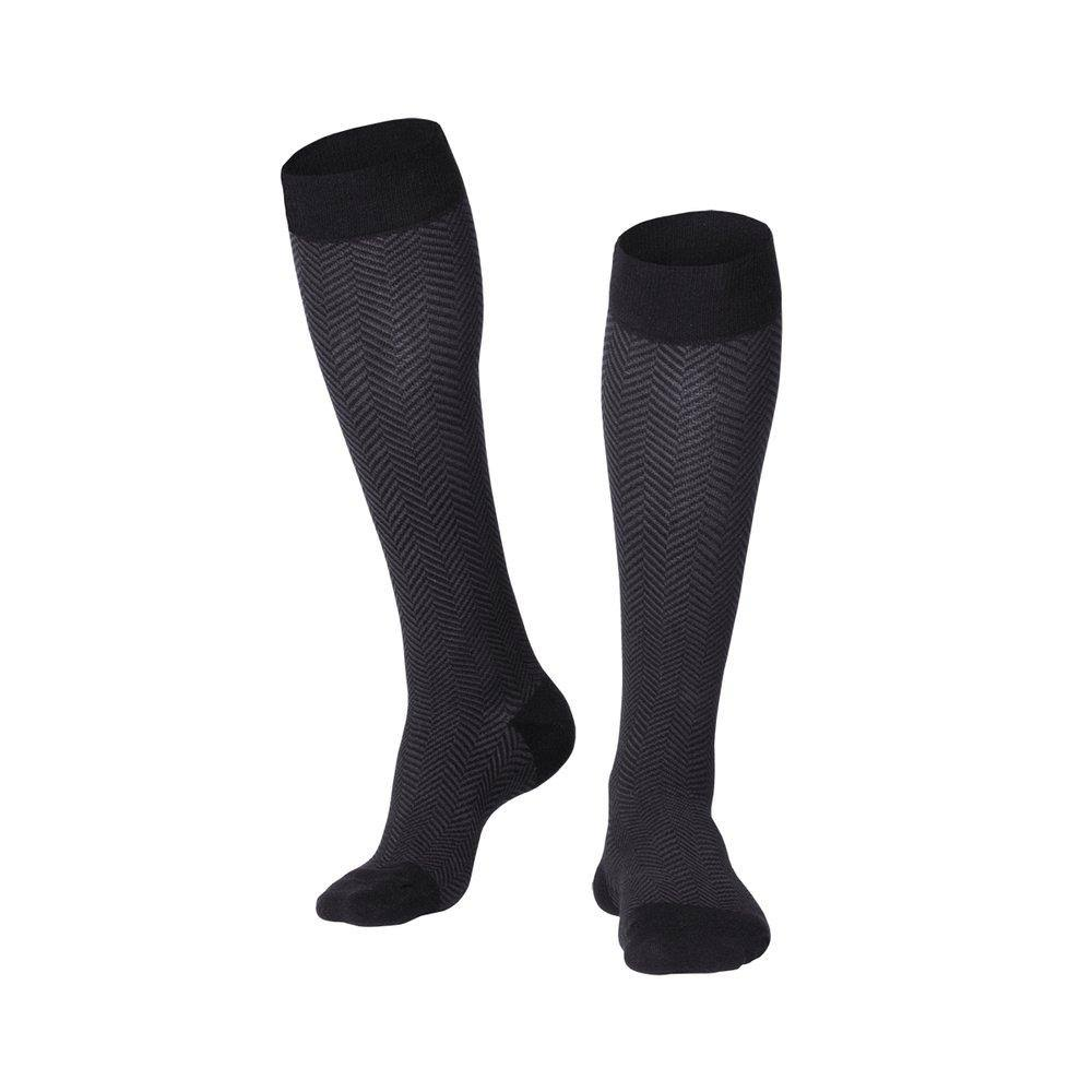 Touch 1021, Men's Compression Socks, Knee High, Herringbone Pattern, 20-30 mmHg, Large