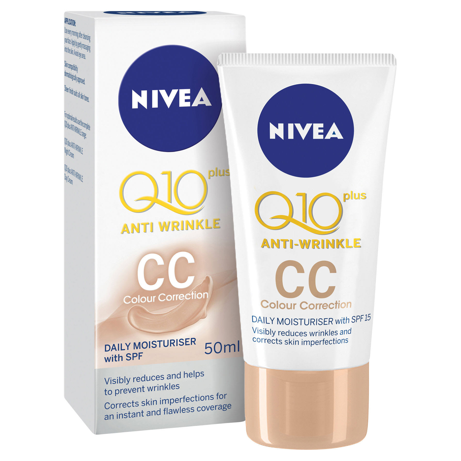 NIVEA Q10 Plus Anti-Wrinkle CC Tinted Day Cream - SPF 15, 50ml