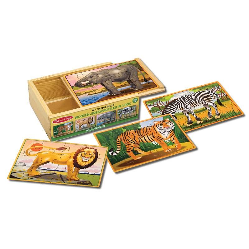 Melissa & Doug Wooden Jigsaw Puzzles in a Box - Zoo
