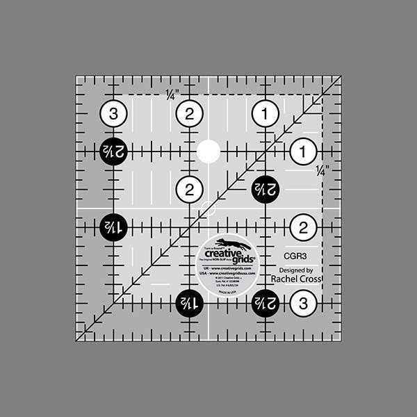 Creative Grids 3-1/2-Inch Square Quilt Ruler (CGR3)
