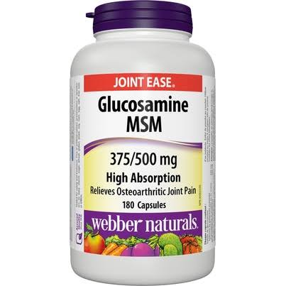 Webber Naturals Glucosamine MSM Supplement - 375 mg/500mg, 180 Capsules