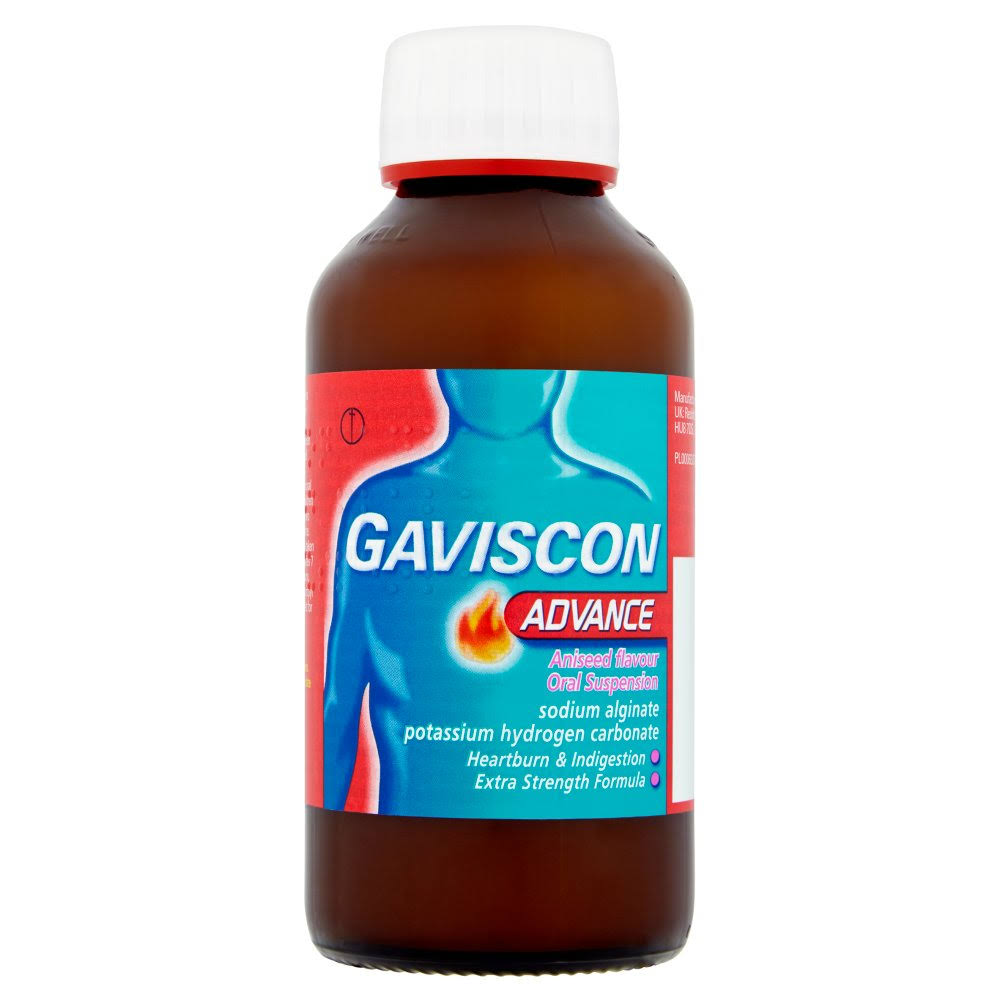 Gaviscon Advance Oral Suspension Heartburn Fast Relief - Aniseed Flavor, 300ml