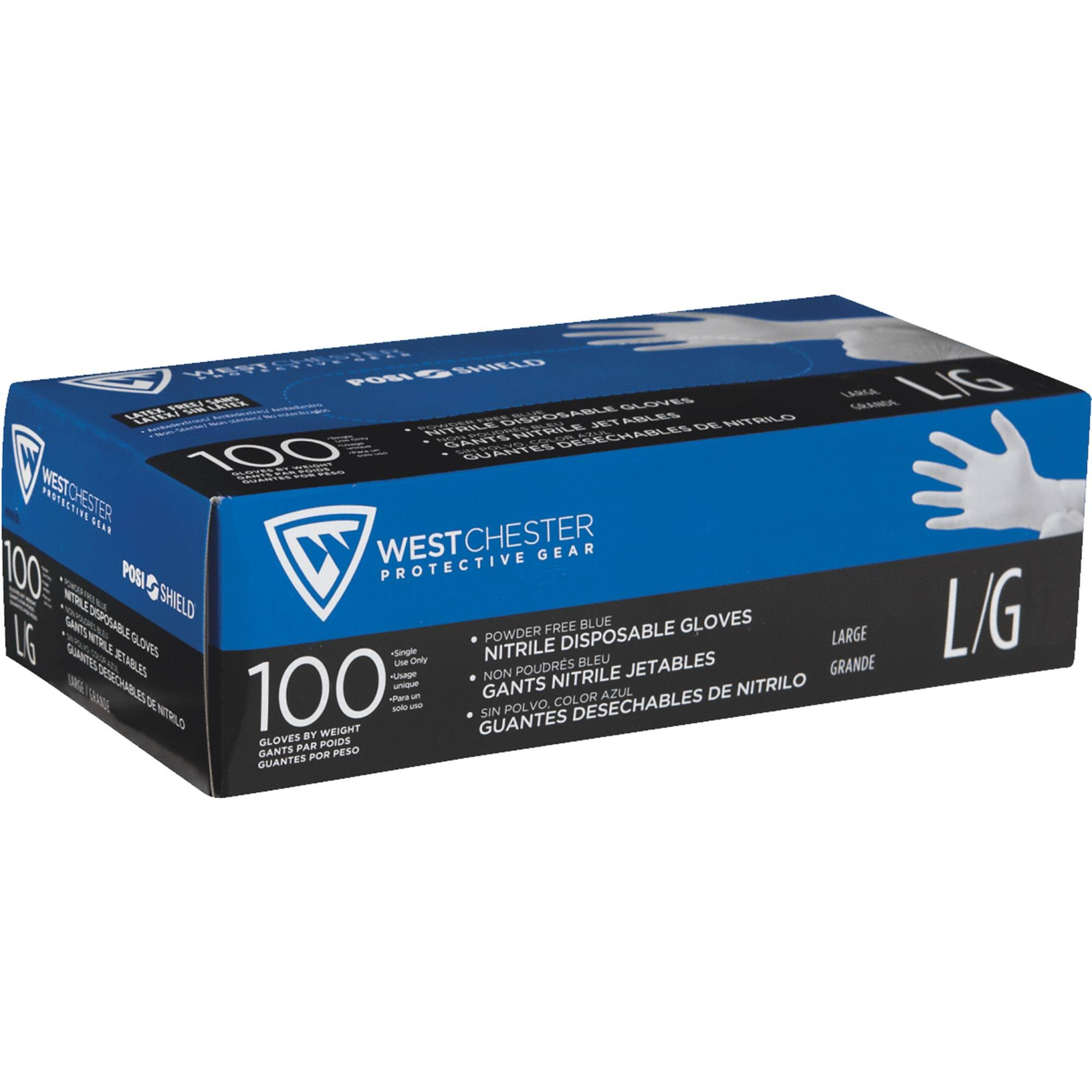 West Chester Powder Free Nitrile Disposable Gloves - Large, x100