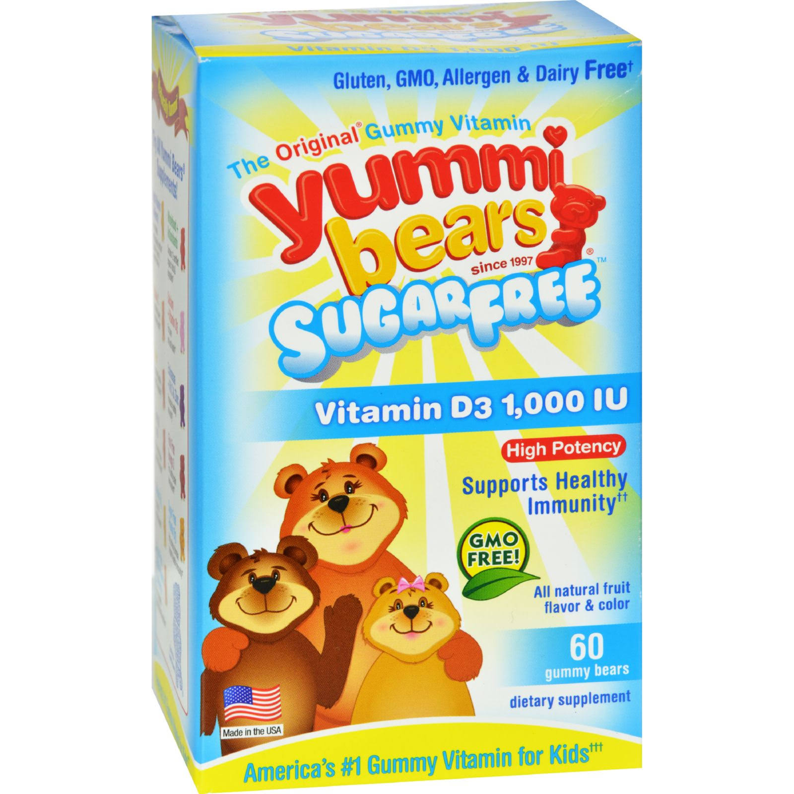Yummi Bears Vitamin D3 1000IU Gummies Dietary Supplement - 60ct