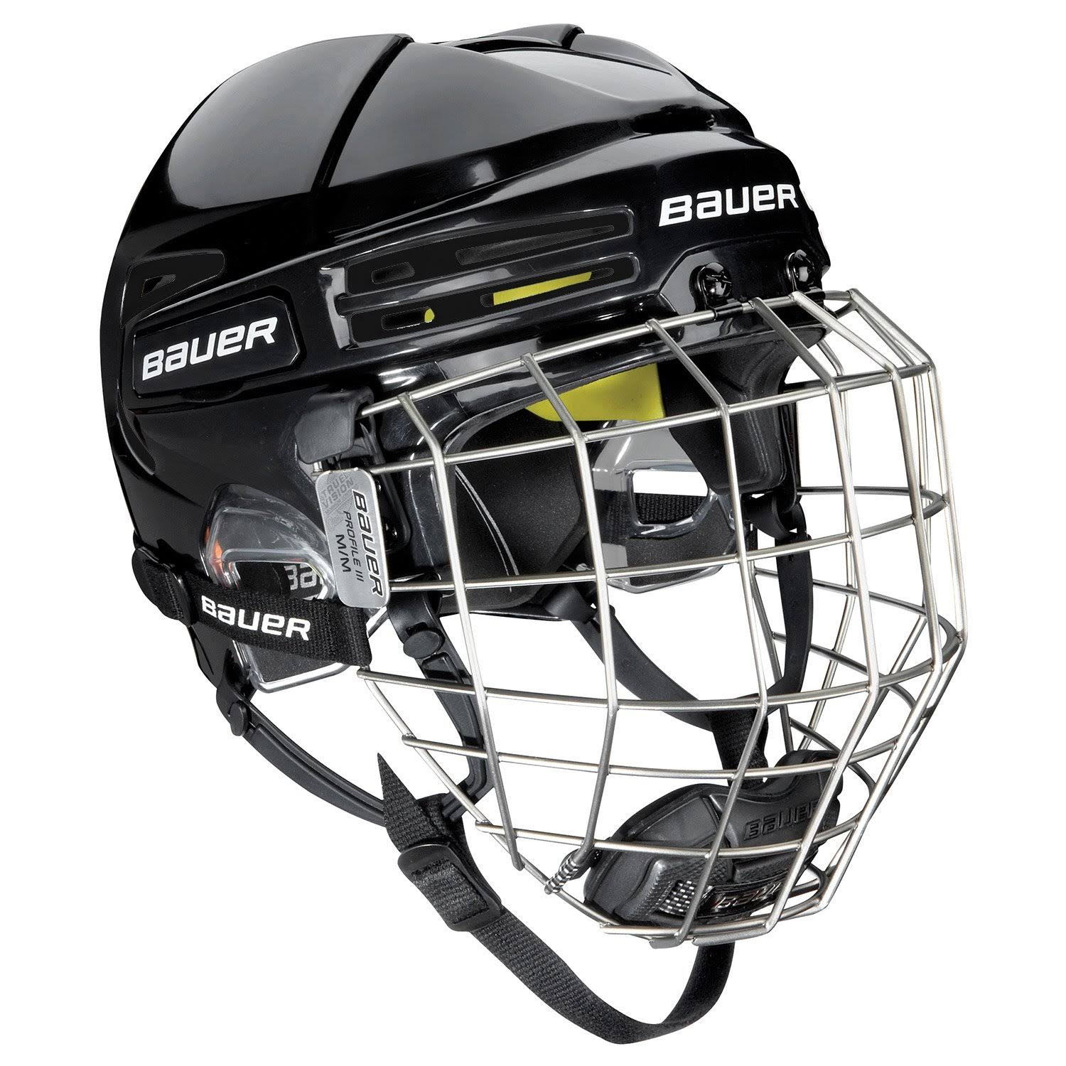 Bauer RE-AKT 75 Hockey Helmet Combo, Medium, Black/Black