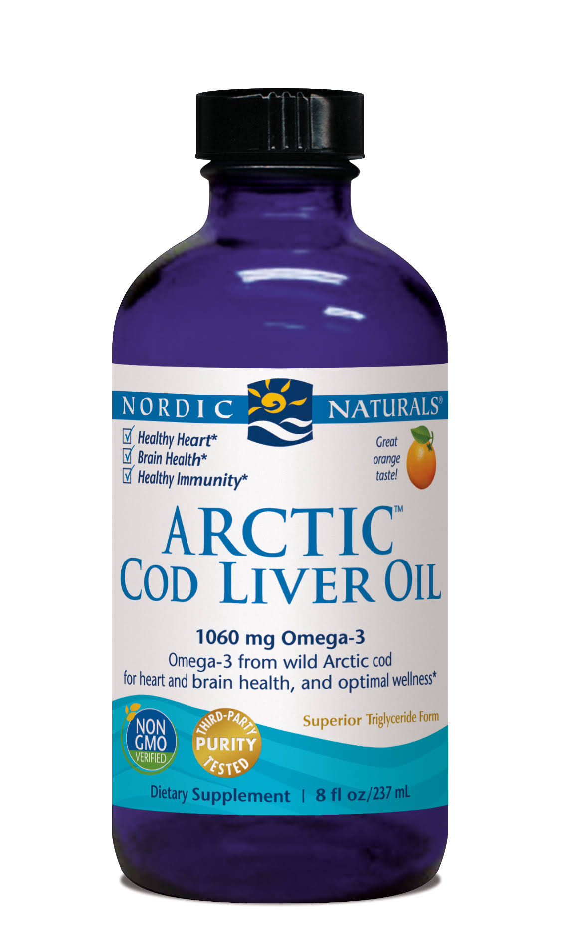 Nordic Naturals Arctic Cod Liver Oil, Great Orange Taste! - 8 fl oz
