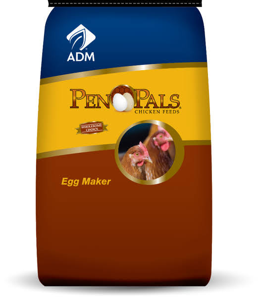 ADM Alliance Nutrition Pen Pals Chicken Feed - 50lbs, Egg Maker, Non - Medicated Feed Crumbles