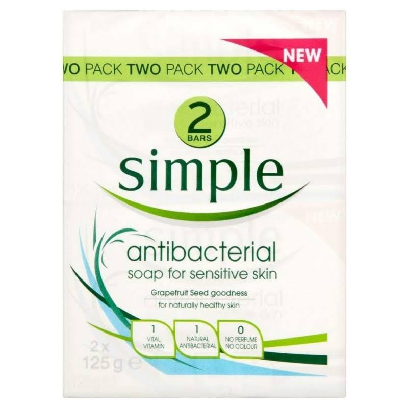 Simple Anti-Bacterial Soap - for Sensitive Skin, 2 x 125g