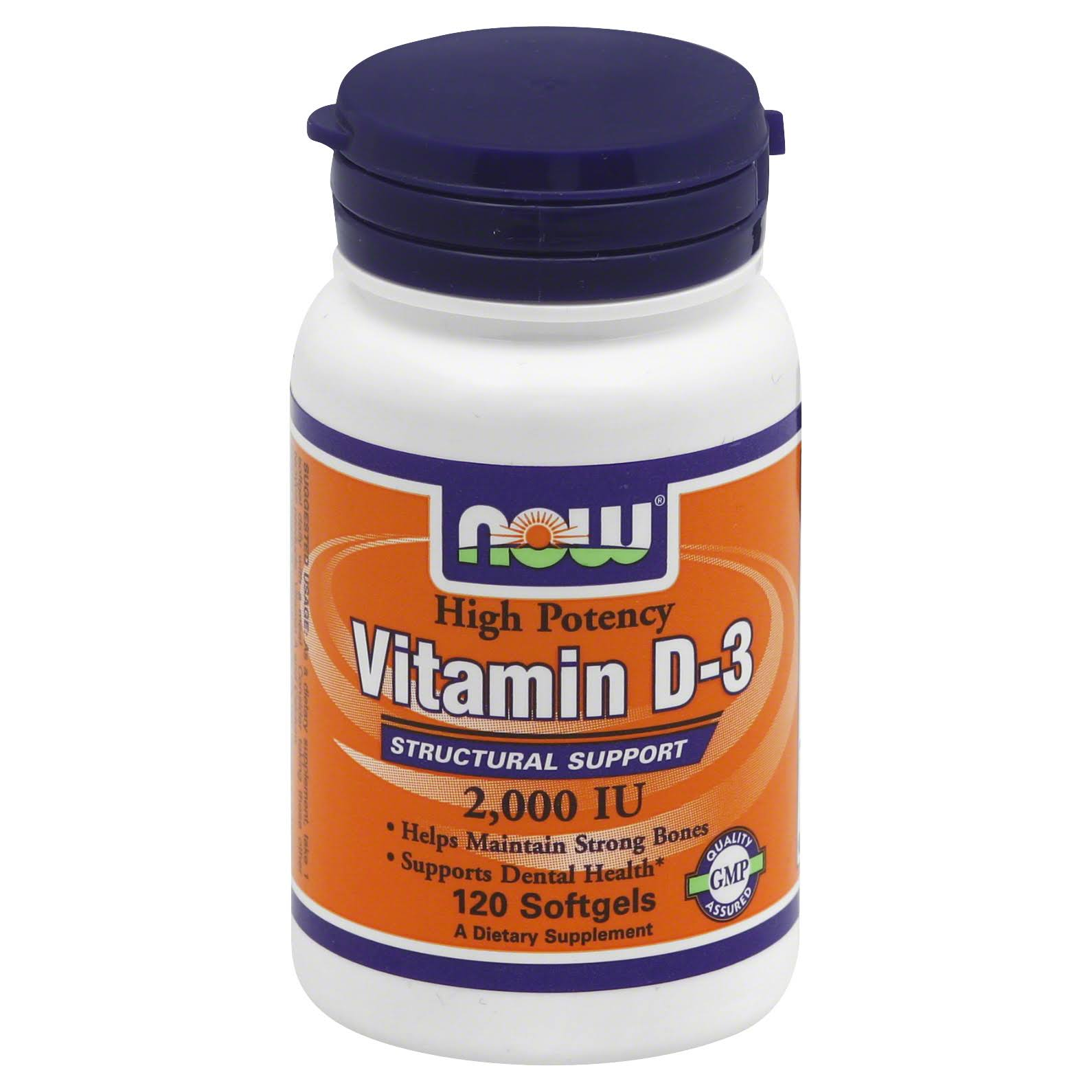 Now Vitamin D-3 2000 IU Dietary Supplement - 120 Softgels