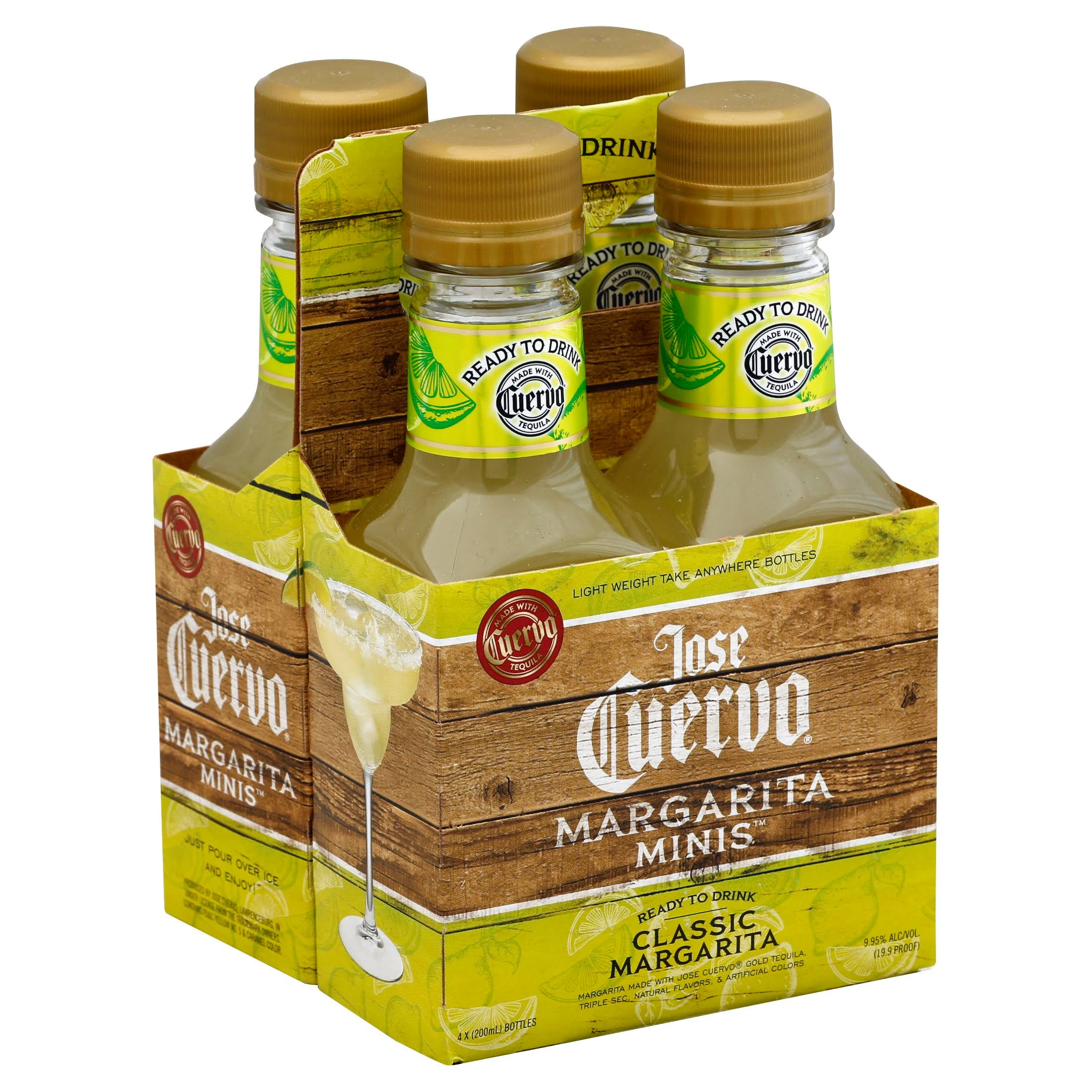 Jose Cuervo Margarita, Classic, Minis - 4 pack, 200 ml bottles