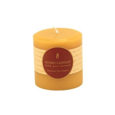 "Honey Candles Pure Beeswax Pillar Candle - Natural, 3""x3"""