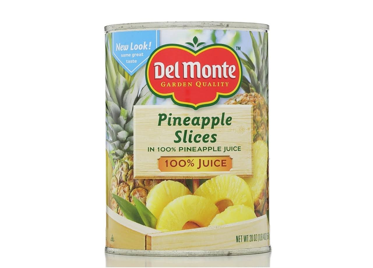 Del Monte Pineapple Slices, 100% Juice - 20 oz