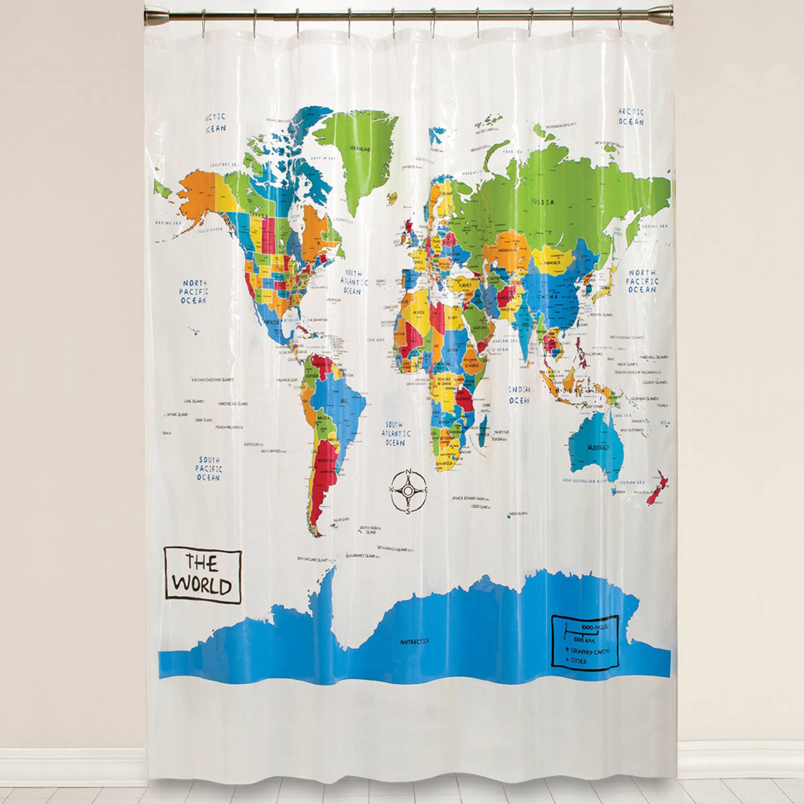 Saturday Knight The World Map Shower Curtain