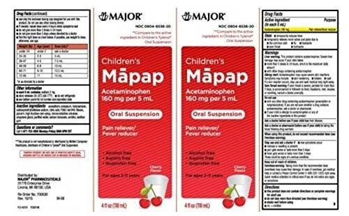 Major Children's Mapap Oral Suspension Cherry 4oz