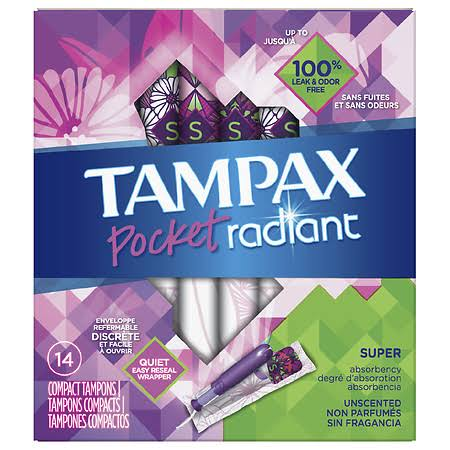 Tampax Pocket Radiant Compact Tampons, Super Absorbency, 14 Count
