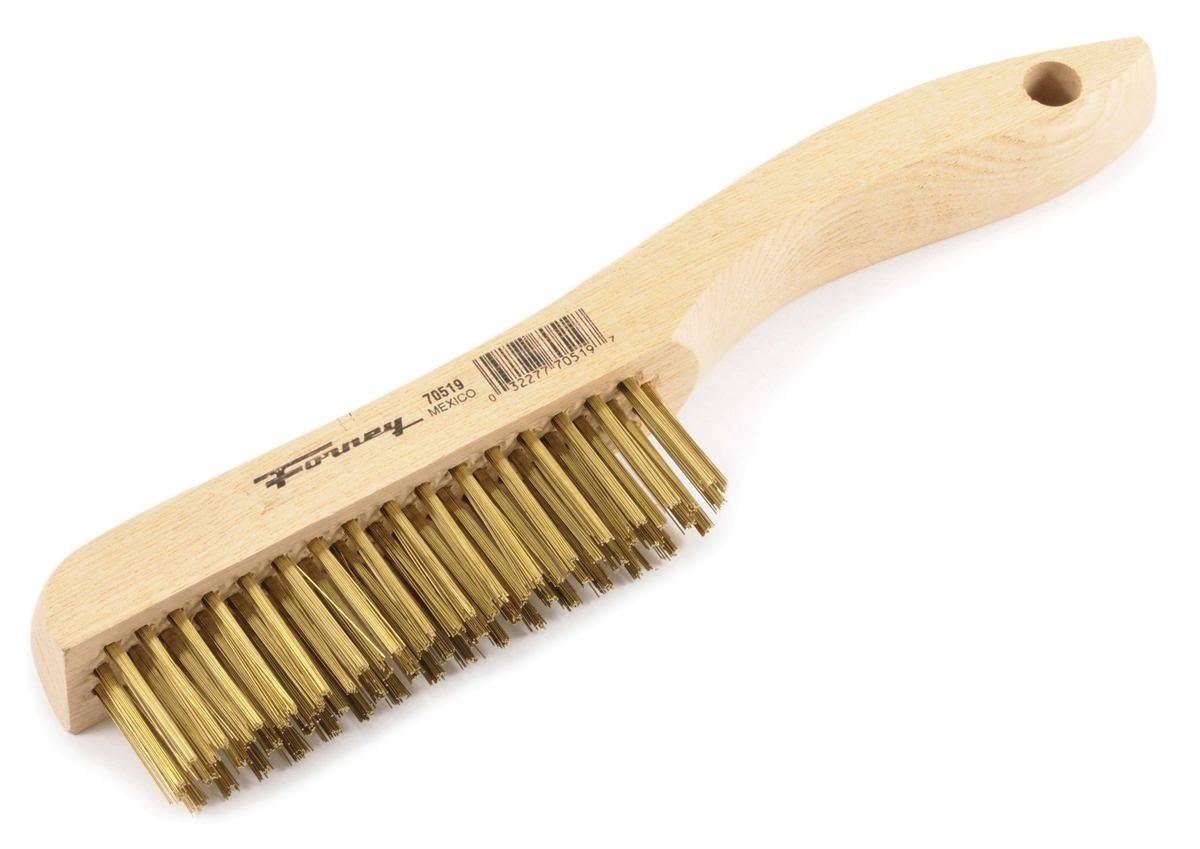 Forney Wood Shoe Handled Brass Wire Scratch Brush - 10-1/4''