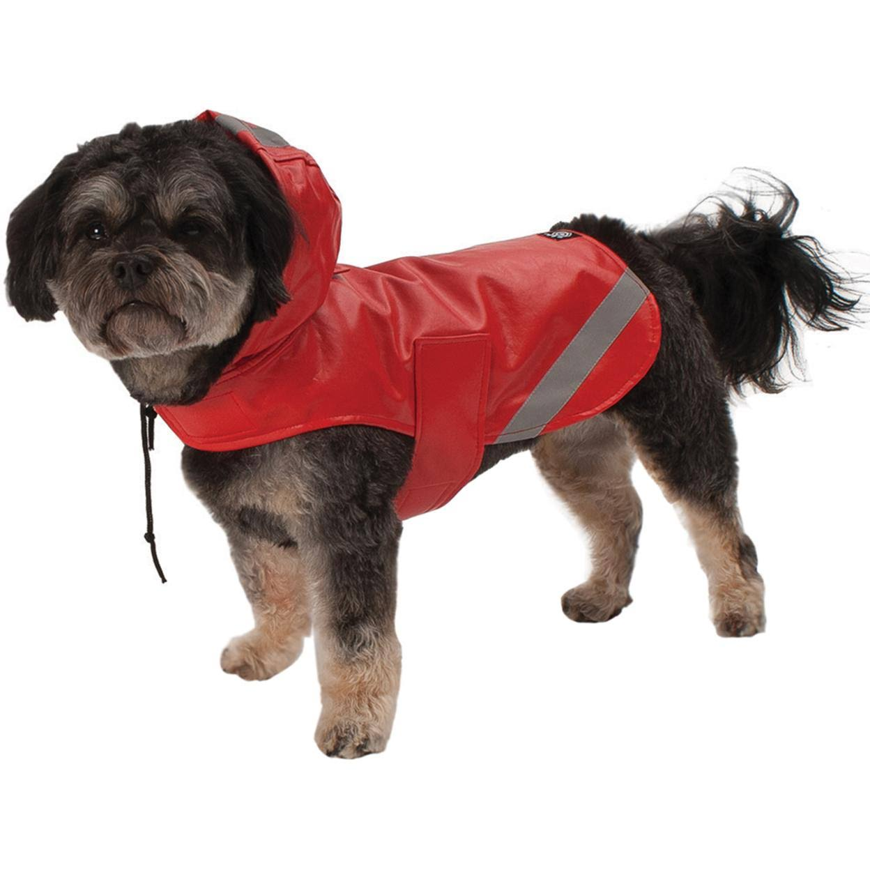 Reflective Slicker Dog Rain Coat Jacket - Small, Red