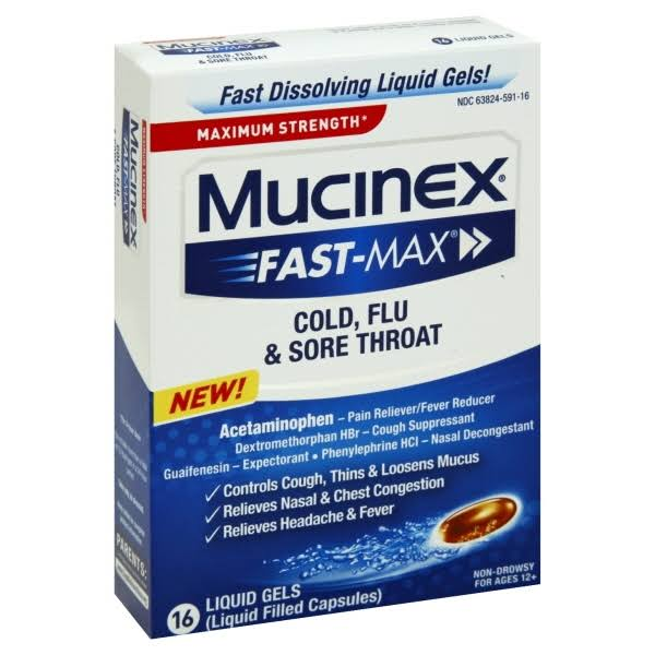 Mucinex Fast-Max Cold, Flu & Sore Throat Liquid Gels - 16 Count