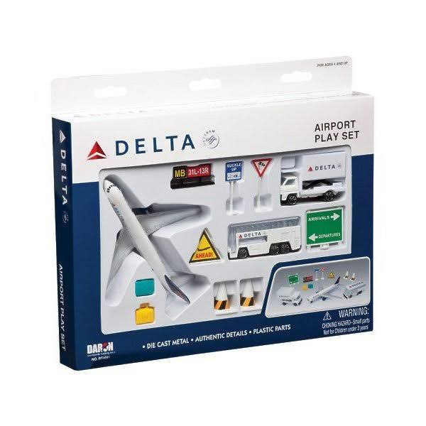 Daron Worldwide Trading RT4991 Delta Airport Playset - 12 Pieces