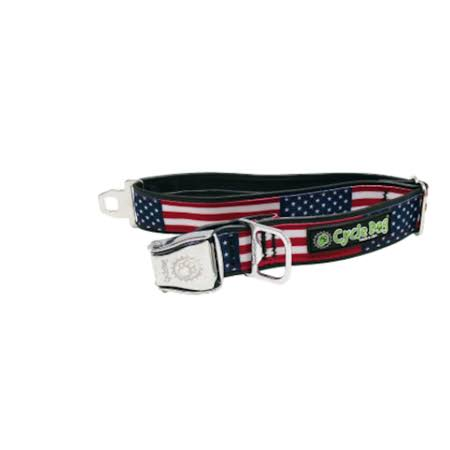 Cycle Dog USA Flag Design Dog Collar with Bottle Top Opener - M