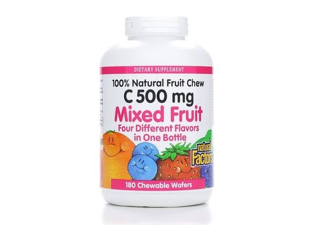 Natural Factors Vitamin C 500 Mg Mixed Fruit Dietary Supplement - 180 Chewables Wafers