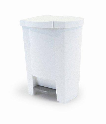 Mistral 8 Gallon Polypropylene Rectangular Step Can with Removable Liner in White