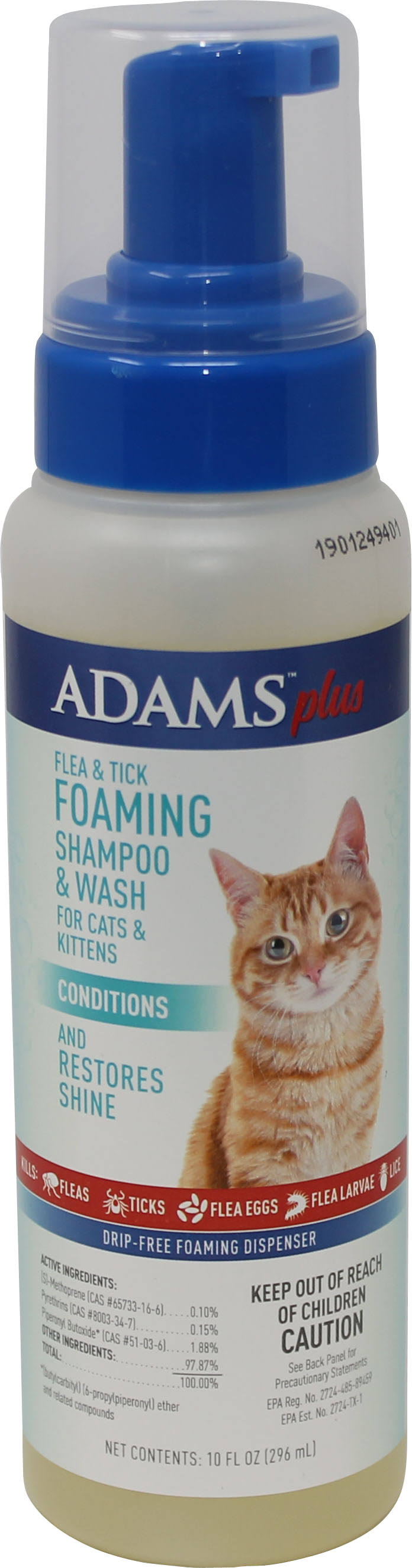 Adams Plus Flea and Tick Foaming Shampoo for Cat