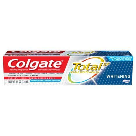 Colgate Total SF Toothpaste, Anticavity, Antigingivitis and Antisensitivity, Whitening, Gel - 4.8 oz