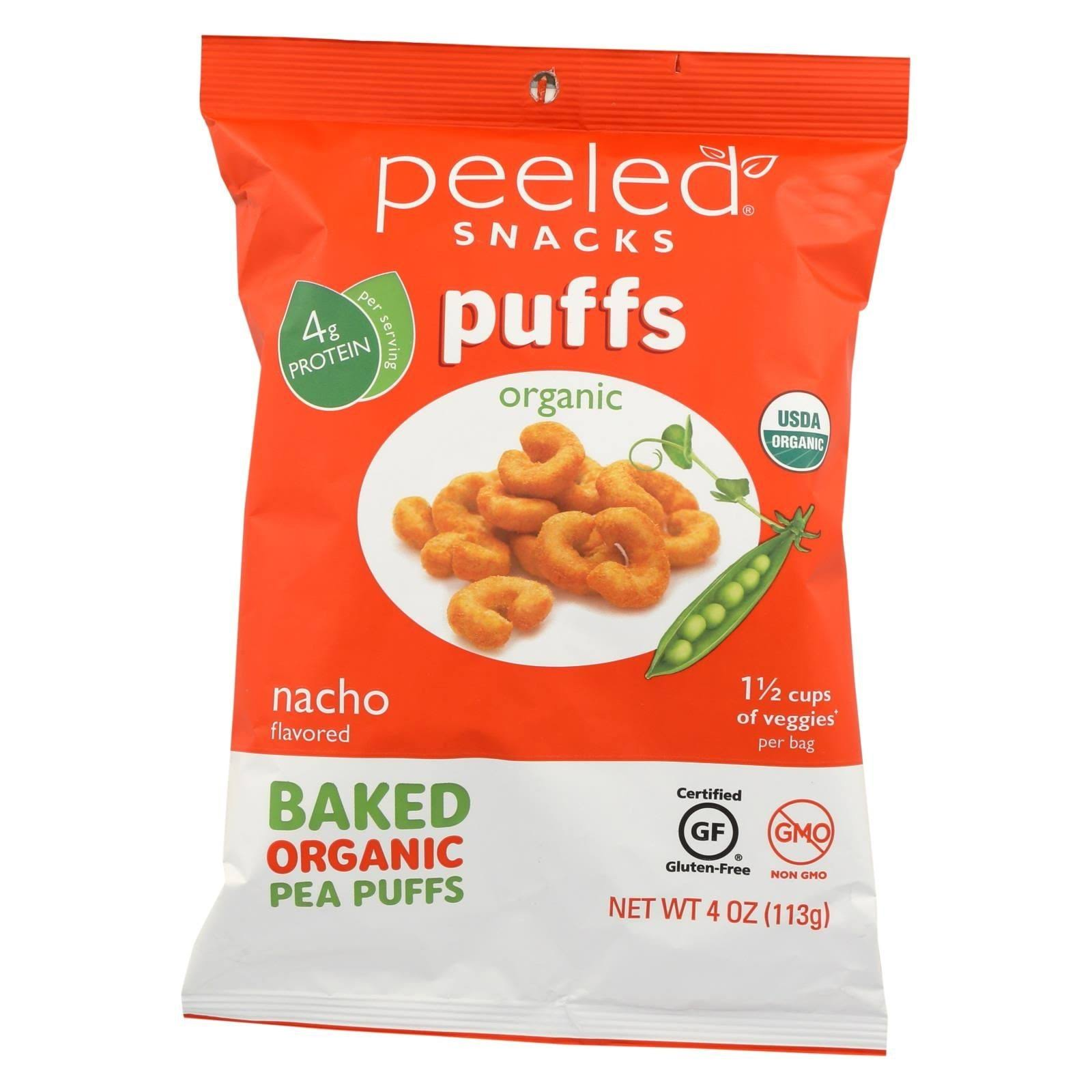 Peeled 2142677 4 oz Nacho Organic Bake Pea Puffs - Case of 12