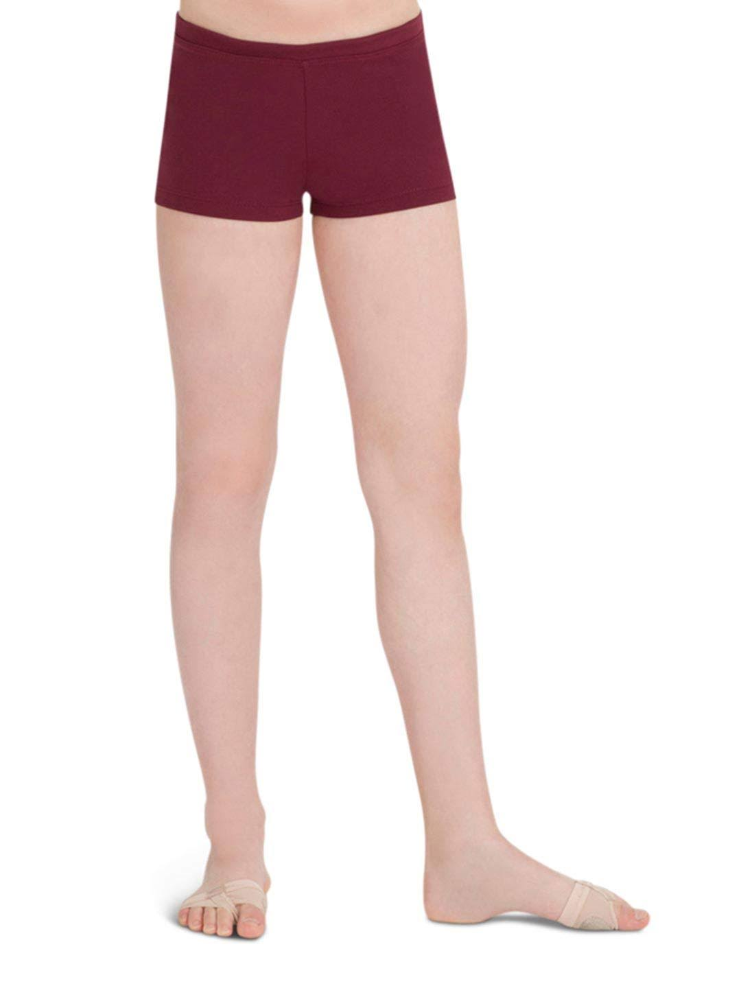 Capezio Girls' Boy Cut Low Rise Shorts - Maroon, Large, 12-14
