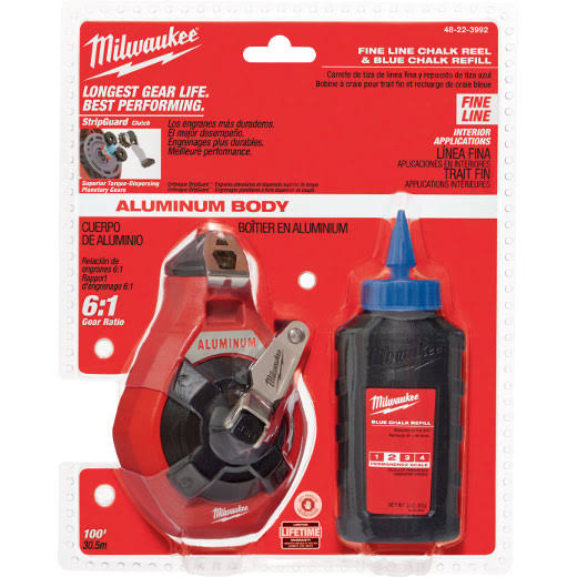 Milwaukee 100 ft. Precision Line Chalk Reel Kit and Blue Chalk