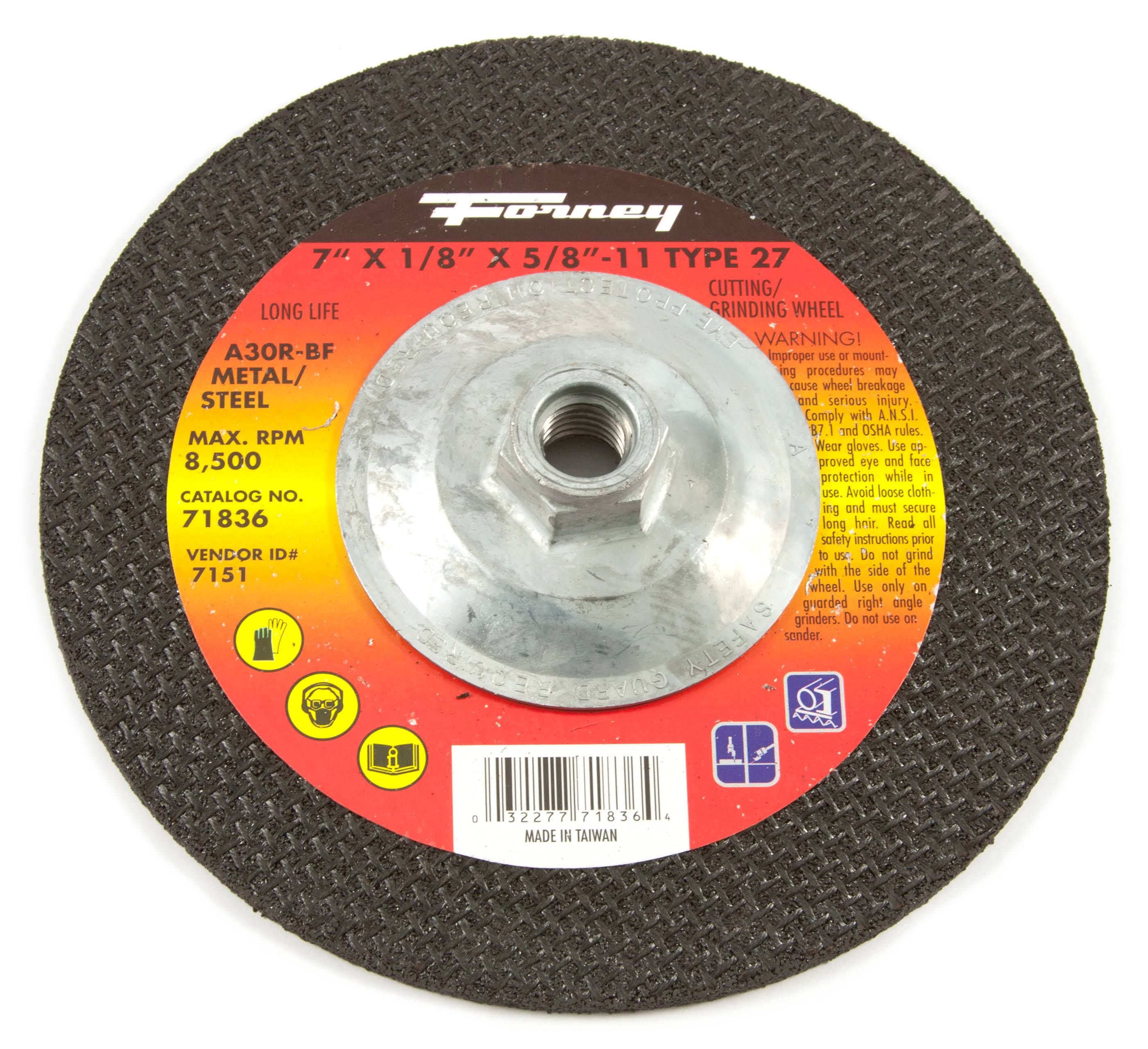 "Forney Grinding Wheel - Type 27, 7"" x 1/8"" x 5/8-11"""