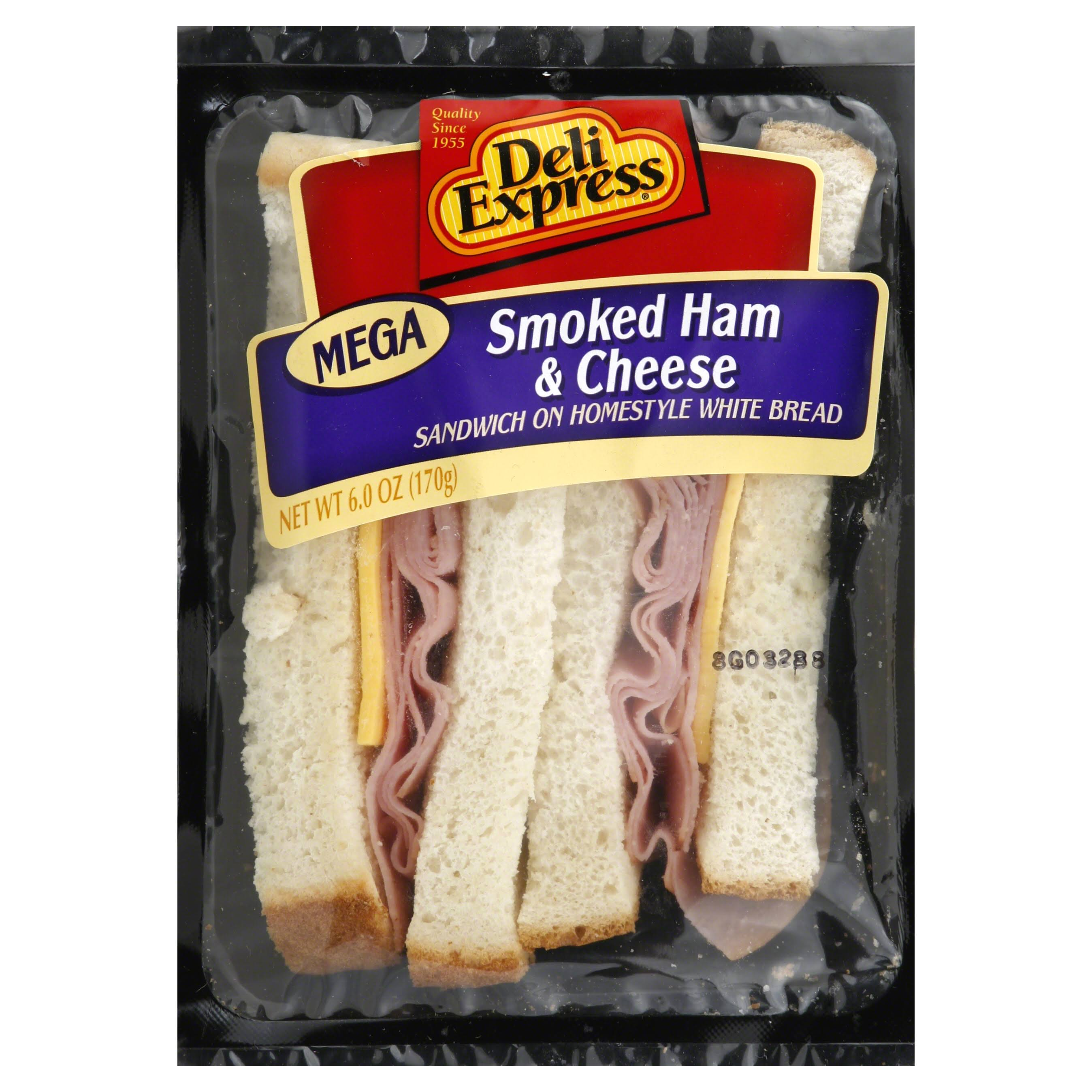 Deli Express Sandwich, Smoked Ham & Cheese, Mega - 6.0 oz