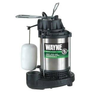 Wayne Cdu980e Stainless Steel Cast Iron Submersibl Sump Pump - 4600 GPH, 3/4 HP