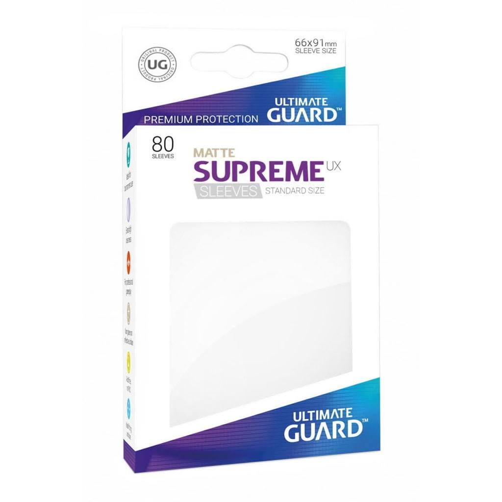 Ultimate Guard Matte Supreme UX Sleeves - White, 66mm x 91mm, x80