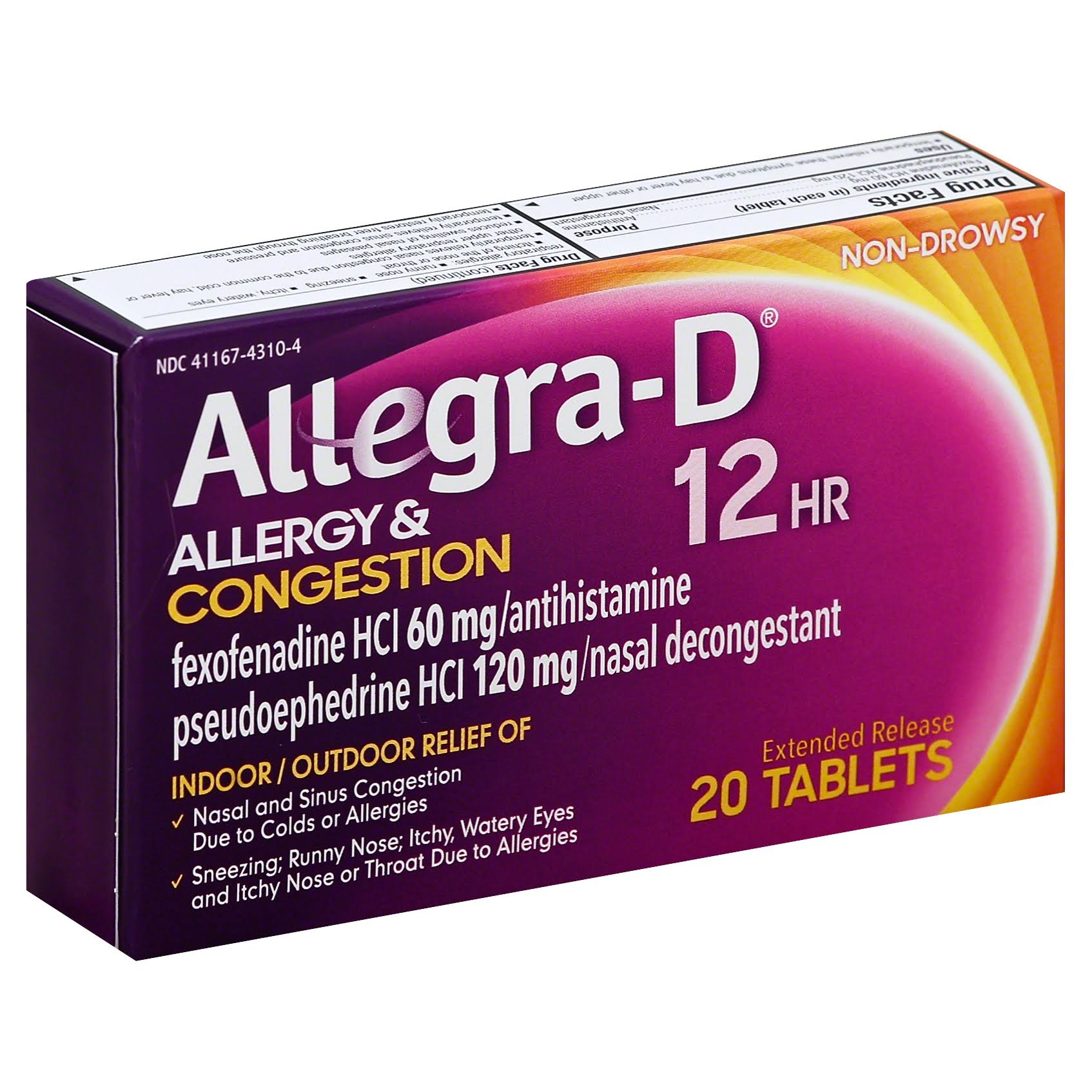 Allegra-D Allergy and Congestion Antihistamine Nasal Decongestant Tablets - 20ct