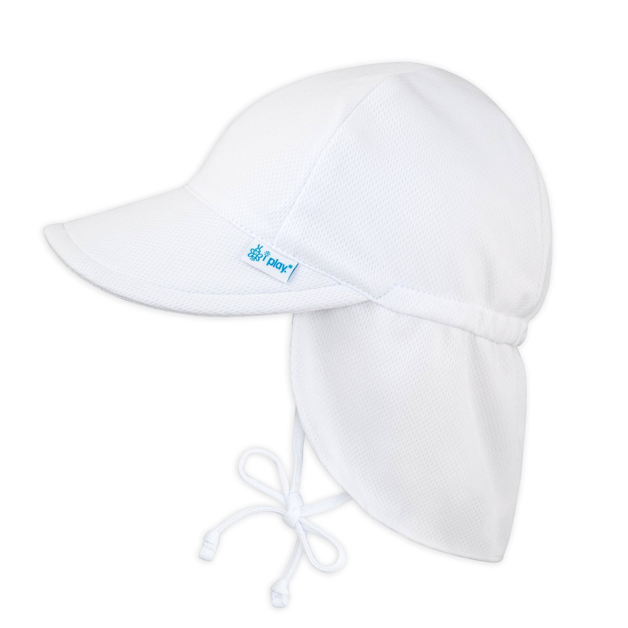 I Play. Toddler Girls Breatheasy Flap Sun Protection Hat Hat - White, 2T and 4T