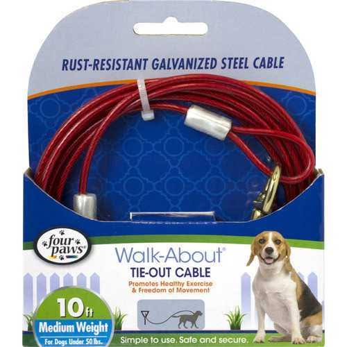 Four Paws Medium Weight Dog Tie Out Cable 10 Feet, Red